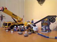 Playmobil Construction Mobile Crane and Conveyor Belt with Mini Excavator