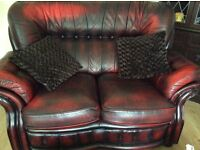Chesterfield three piece & two piece suite with matching footstool