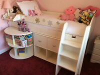 Mid cabin bed with pull out desk and under bed cabinet, great for books and games storage
