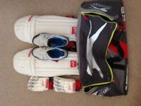 CRICKET PADS,GLOVES,SHOES AND BAG FOR SALE.