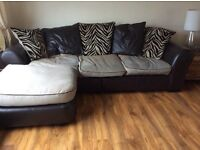 2 Brown leather and fabric three seater sofas with chaise and matching swivel chair