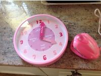 Girls pink (help to tell the time) clock & Carmengirls Palm straighteners