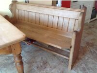 Church pews and farmhouse table