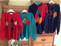 4 pure wool quality (poss.Golf) jumpers.Never used,washed to sell.Plus Golfers compendium gift box.
