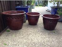 Garden plant pots x 3