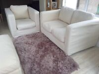 Cream suite, 2 seater, chair & footstool £100 ono