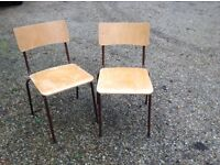 Pair of vintage ply and metal school chairs