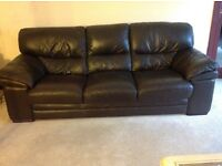 Brown 3 piece leather suite