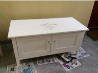 Shabby chic white tv cabinet with diamanté handles and stencil
