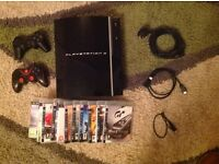 PS3 Playstation 3, 11 Games, 2 Controllers, FIFA 16, Call of Duty MW3