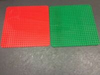 "2 x Duplo Large Base Boards/Plates: 1 x RED + 1 x GREEN 24 x 24 Stud 15"" x 15"""