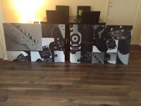 Fender Guitar - Original black and white Fender factory wall art