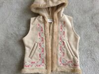 Girls Suade Fur Lined Next Gilet with Hood. Age 3 years. New
