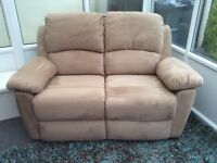 2 seater recliner sofa, as new condition as it was only bought in January, faux suede material.