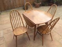 Ercol 1960s Elm table and 4 chairs