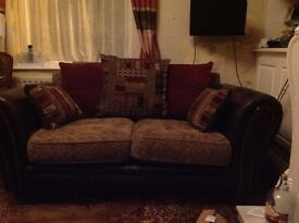 Genuine brown leather /material mix 2 seater sofa with matching chai