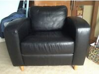 Black Leather Armchair VGC