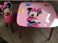 Pink Minnie Mouse Chair and Table