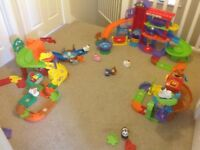 Selection of VTech Toot Toot Animals - Pet Hotel, Safari Park, Tree, Chicken Coup and spare track