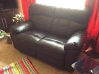 Black reclining sofa 2 + 1 Great condition!
