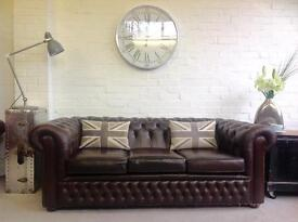 Brown leather vintage Chesterfield. Can deliver