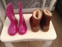 Girls size 7 ugg boots and glitter wellies