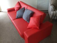 Stylish Cuba Faux Red Leather Sofa Bed with matching cushions