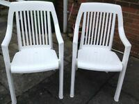 3 Top Quality garden chairs. White very sturdy plastic. Ex. Cond.