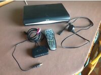 Sky HD box, remote and with Sky mini wireless connector box plus cables