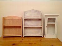 Three small shelves shelving cabinet (wall mountable)
