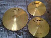 """Pearl Cymbal Set - 14"""" Hi Hats & 18"""" Crash Ride"""