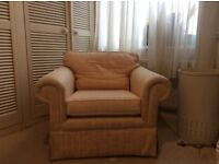 Comfy arm chair , from smoke and pet free home , cream material pick up