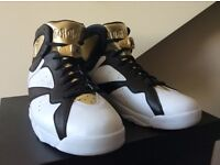 Mens Nike Air Jordan 7 Vii Retro C&C Championship Pack Uk 11 White Black & Gold
