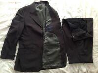 Men's Milan Collection 2 Piece Dark Brown/Grey Suit, Trousers 40R Jacket 40R