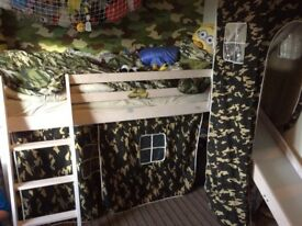 Mid sleeper with slide and camo curtains