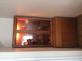 Display cabinet with cupboard and one draw