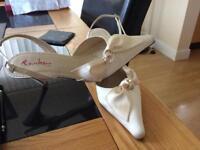 Rainbow Ivory Satin Wedding Shoes size 5