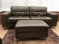 Leather Settee 3 seater and footstool with storage-QUICK SALE