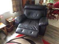 Leather look settee and chair