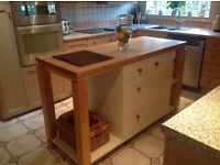 Freestanding Cream Kitchen Island with Draws and Cupboards