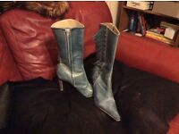 "Ladies pale blue leather boots. New 3 1/2 "" heel. Unique made in Brazil."