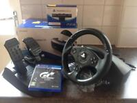 PlayStation VR Headset + Camera + Thrustmaster T80 Steering Wheel with GT Sport Game Bundle (Used)