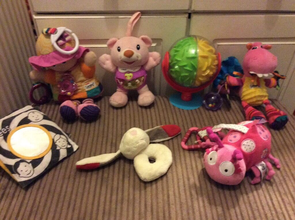 Baby toys, Lamaze and vetch includedin Plympton, DevonGumtree - Very good condition, 2 Lamaze toys that can be attached to car seat or pram. One toy that dangles with a mirror. A newborn rattle that goes on your little ones wrist. A musical v tech bear. A rustly book, black and white, great for newborn visual...