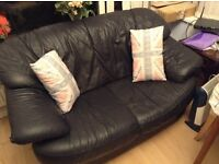 Dark leather sofa - ideal if space is limited!!!