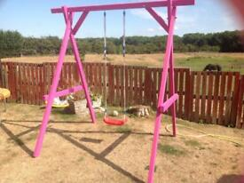 Wooden swing home made pink