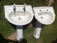 Two Armitage Shanks bathroom basins and one pair of Bristan taps