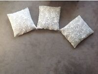 THREE DUCK EGG AND CREAM PATTERENED CUSHIONS FOR NEXT
