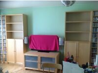 APPROX £600 WORTH OF IKEA BIRCH VENEER SHELVING/BILLY BOOKCASES/TV/STEREO UNIT/DINING TABLE & CHAIRS