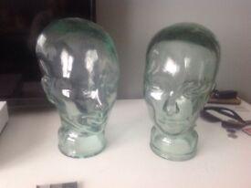 2 hollow glass heads