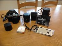 Canon AE1 camera and various accessories
